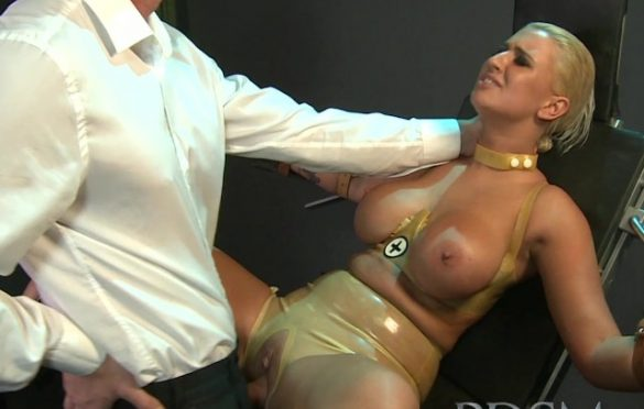 BIG BREASTED SLAVE SERVES HER MASTER